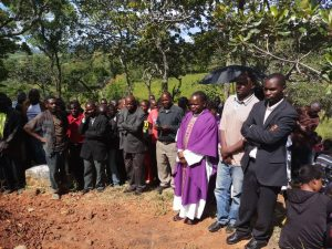 PIcture of Father Cyprian Ngoma (in purple chasuble) represented the Bishop at Khosolo where Ephraim was laid to rest