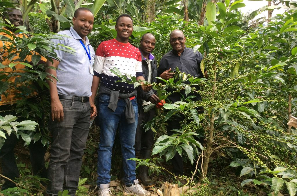The Vicar General (first from right) at Misuku Coffee Farm franked by the Farm Manager, Charles Mtumbuka, M&E Officer Deodatus Muriya and Mavuto Chitete
