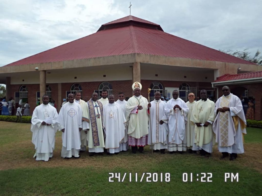 Bishop Martin Mtumbuka and priests