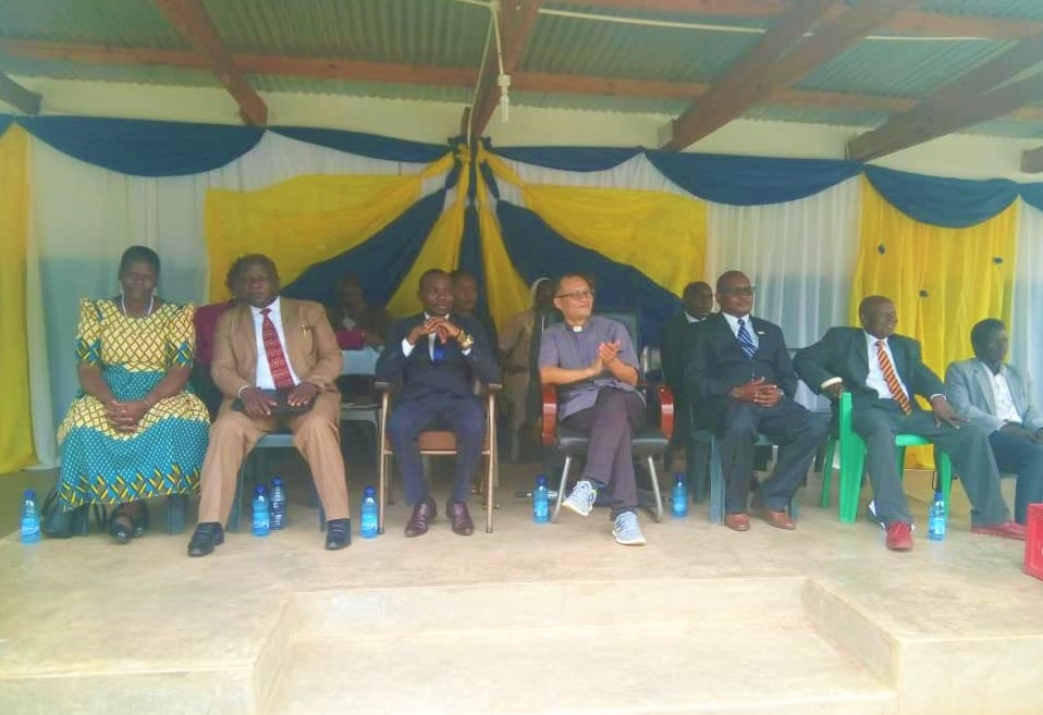 Some of the dignitaries present during the function: In the middle Marianists Brother Mfune (in suit) and Father Simon (in grey clerical shirt)