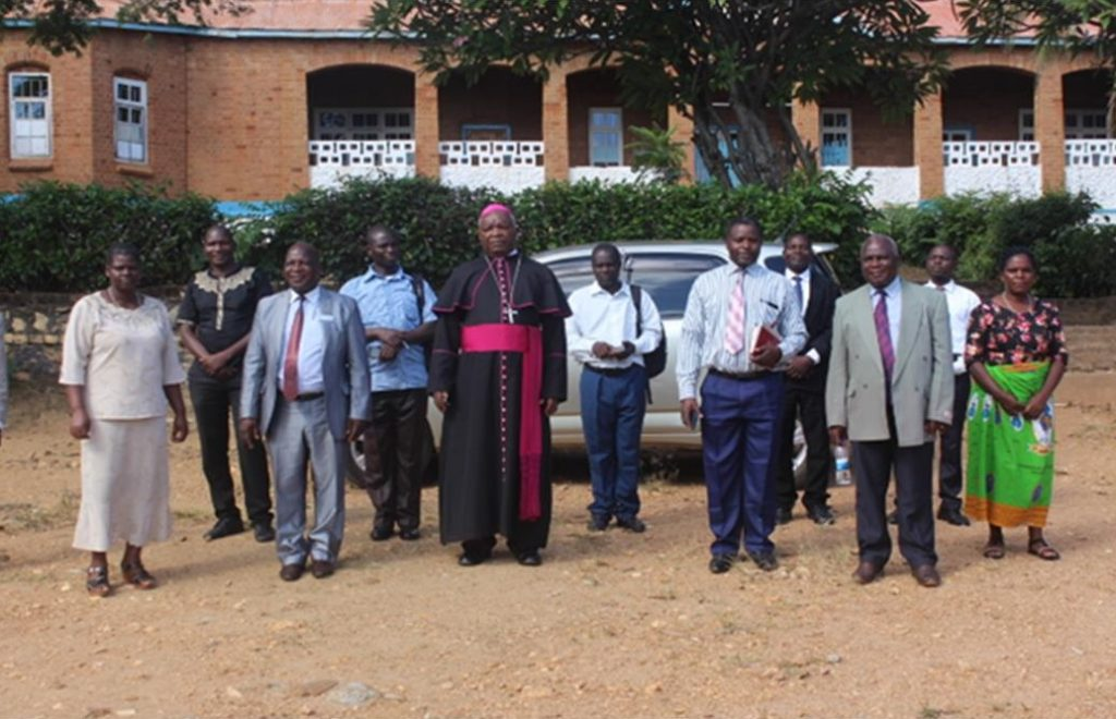 Bishop Mtumbuka with members of Diocesan Laity Council after the meeting at Kaseye