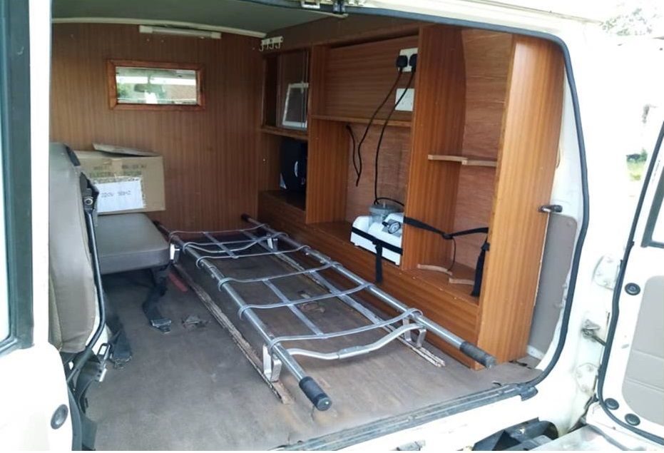 Refurbishing ambulance in progress