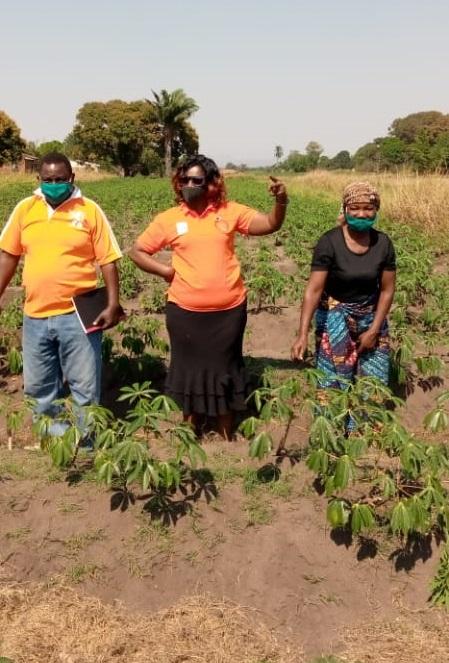 Prosperina Shaba with Simkonda Family in their cassava garden