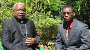 Picture of Ephraim Nyirenda interviewing Bishop Mtumbuka on the status of Karonga Diocese recently