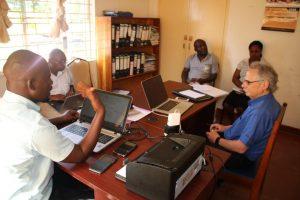 Mr Skrotski meeting senior officers of the Diocese of Karonga