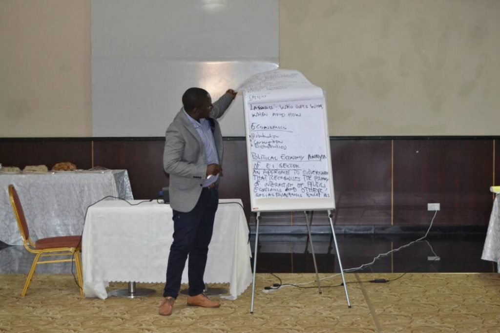 File photo: Mr Louis Nkhata facilitating in an extractive governance training