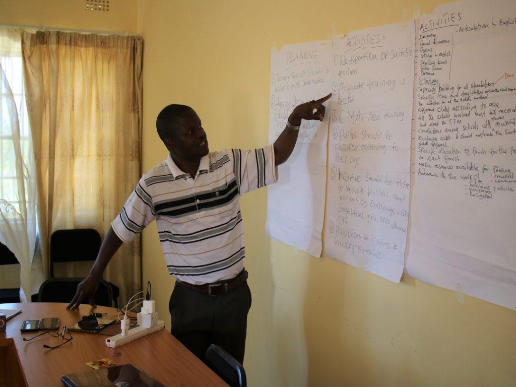 Father Mwanjabala making a presentation on behalf of priests