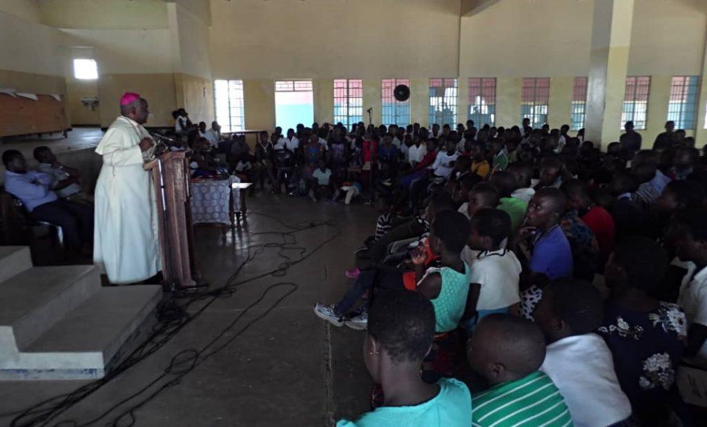 Bishop Mtumbuka interacting with Sunday school children