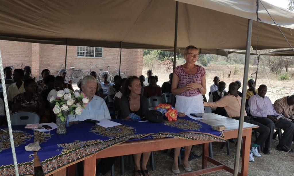 Madam Maasjost speaking during the computer handover ceremony at St Annie's CDSS