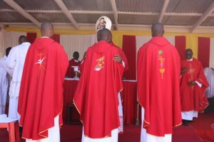 Bishop Martin Mtumbuka Congratulating the Newly Ordained Priests after Conferring Upon them the Sacramental Grace of Priesthood