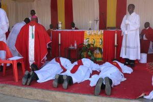 Ordinands Lie Prostrate During Litany of the Saints Symbolising Their Unworthiness For the Office to be Assumed and theie Dependence Upon God and the Prayers Of the Christian Community