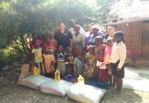 Some of the household who benefited from the donation at Chitemwano CBO in St Stevens Parish